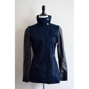 Black & Navy Faux Leather Jacket!