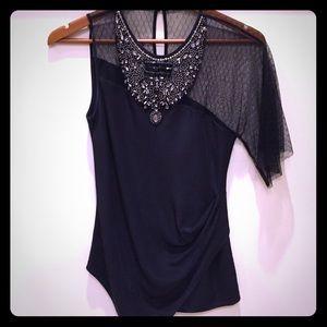 BCBG black jeweled embellished asymmetric blouse