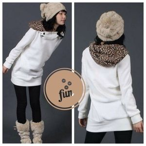 Tops - Long White Leopard / Cheetah Hoodie