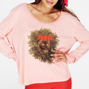 Kitty wreath Wildfox couture raglan tee shirt