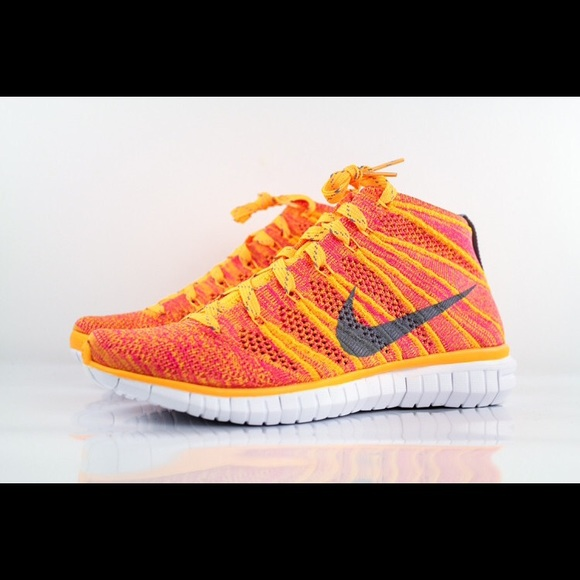 best wholesaler no sale tax huge discount New Nike Free Flyknit Chukka mango pink orange NWT