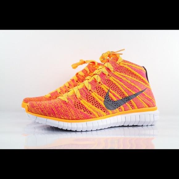 huge discount b3d85 5026c New Nike Free Flyknit Chukka mango pink orange