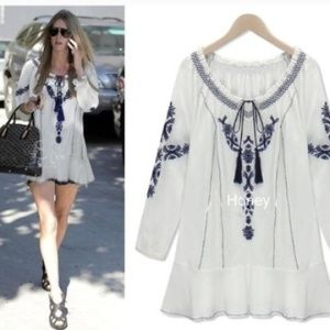 ❗BACK IN❗ White Embroidered Floral Boho Tunic Top