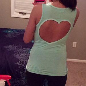 Tops - Mint tank with foil letters LOVE, open heart back