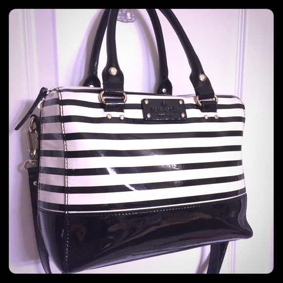 72% off kate spade Handbags - Kate spade black white striped ...