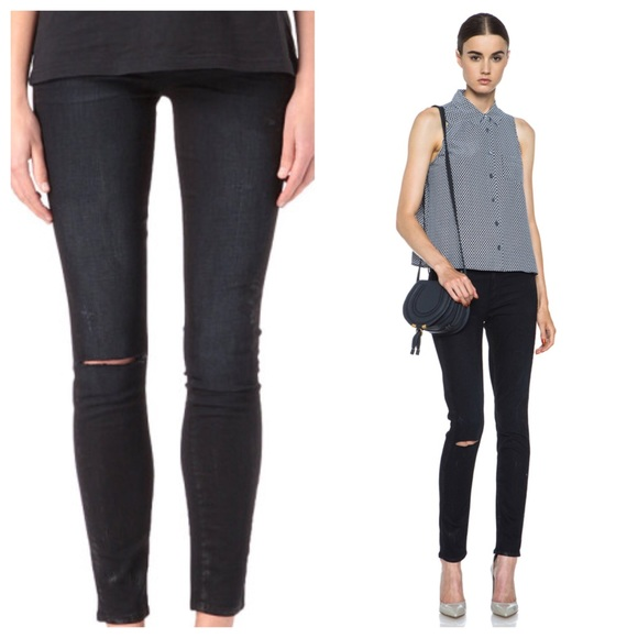 86% off Paige Jeans Denim - Paige denim black skinny jeans w/knee ...