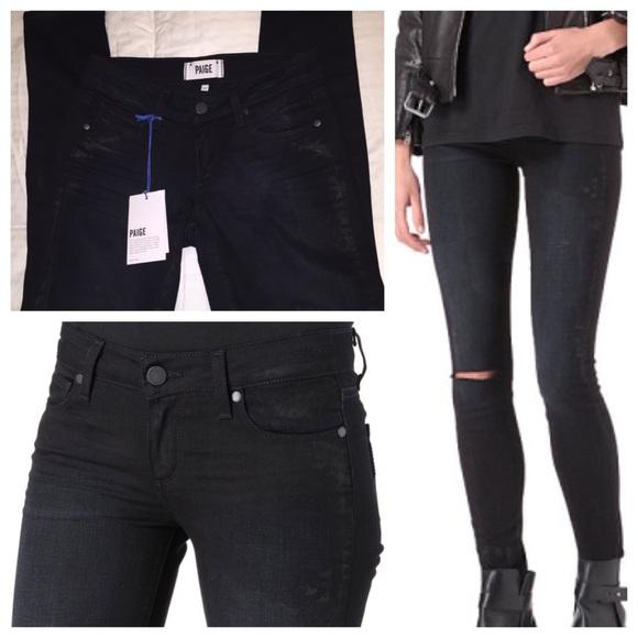 86% off Paige Jeans Denim - Paige denim black skinny jeans w/knee