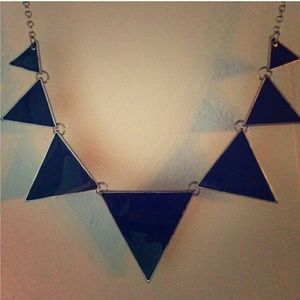 Guess Black Silver Triangle Necklace