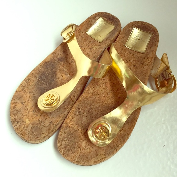 797f2102b Authentic Tory Burch cork and gold sandals. M 5522bd545c12f8347f00ca20