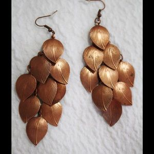 Copper leafs chandelier earrings new