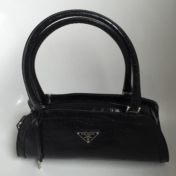 Bags   Black Prada Faux Alligator Purse   Poshmark d755674675