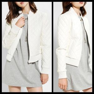 Urban Outfitters Quilted White Leather Jacket