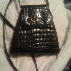 Black alligator cross body clutch