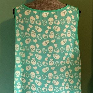 Boutique Tops - Turquoise & Teal Skull Hearts Sheer Sleeveless Top