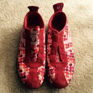 Red suede leather red shoes polka dots size 8