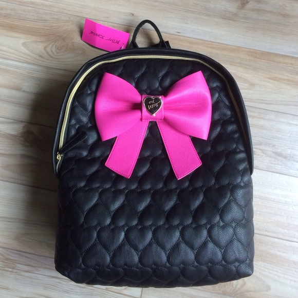 120263ff41 Betsey Johnson black quilted pleather backpack