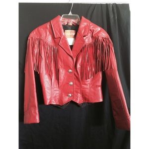 Red vintage fringe leather jacket!!