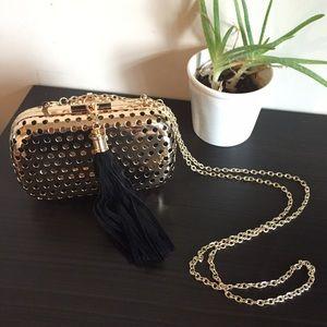 🚫SOLD🚫 Gold Metal Tassel Clutch