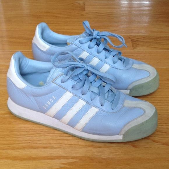 VTG Adidas Original Samoa Blue Leather Sneaker Athletic Shoe
