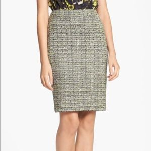 St. John Yellow Tweed Pencil Skirt