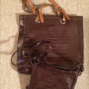Brown faux croc tote bag and mini messenger