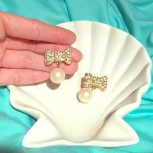 Kate Spade All Wrapped Up Pearl Pavé Drop Earrings