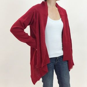 Ambiance Sweaters - Red Draped Waterfall Sweater