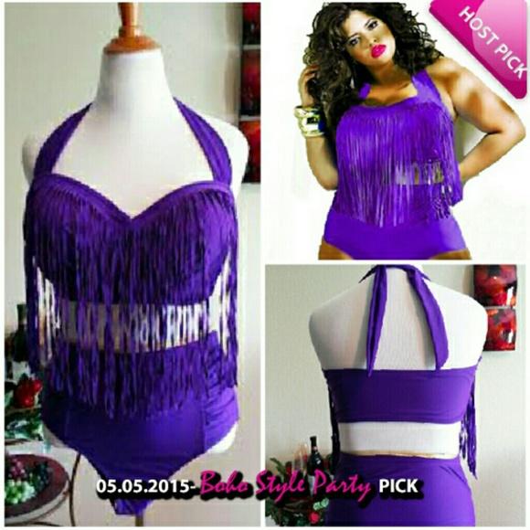 3defa33b628 Purple Fringe Plus Size Two Piece Swimsuit 12-14+