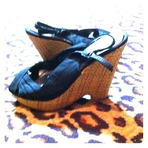 Black bamboo wedges