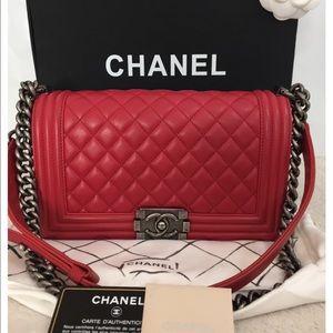 CHANEL - Chanel calfskin medium le boy flap bag in SHW ... Chanel Boy Bag Red 2013
