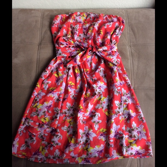 Express Tube Top Floral Dress