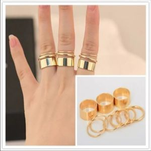 9PCS Fashion Gold Knuckle Ring Band Midi Ring Set