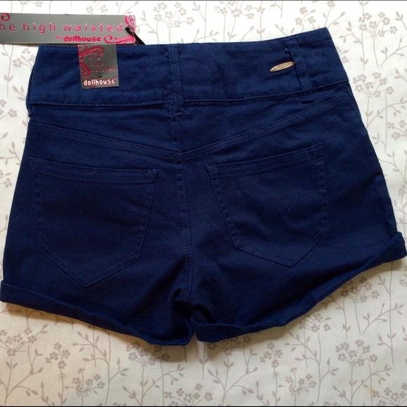 73% off Dollhouse Pants - DOLLHOUSE Navy Blue High Waisted Shorts ...