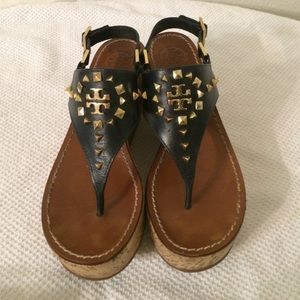 Tory burch studded wedge sandals