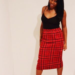 Vintage Silk Midi Plaid Pencil Skirt