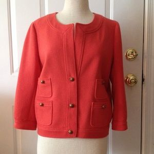 J. Crew coral 90% wool jacket size 10