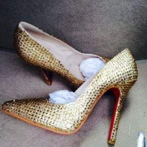 designer heels red bottom 0gp4  Gold bling red bottoms NOT designer shoes