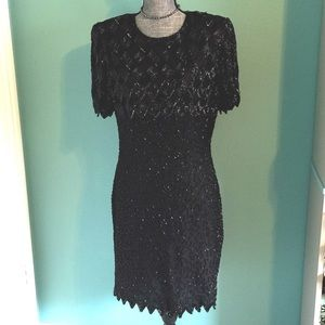 Vintage Black Beaded Dress Silk Sequins Large