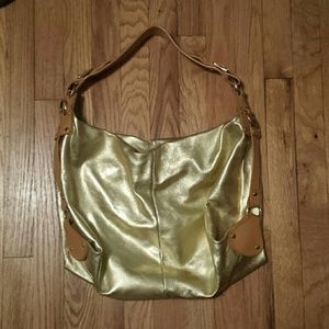 Gold genuine leather bag