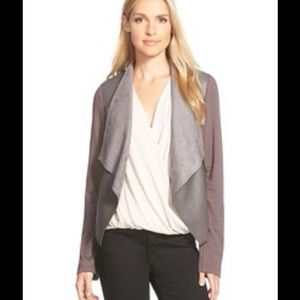 Zara Jackets & Blazers - Brown jacket faux leather drape front