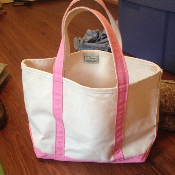 LL Bean Boat Tote Pink Beige Canvas