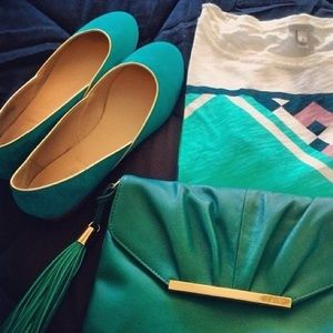 Emerald j.crew flats with gold piping