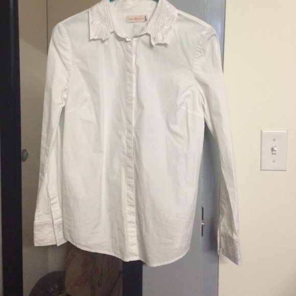 86 off tory burch tops tory burch white embroidered for Tory burch button down shirt