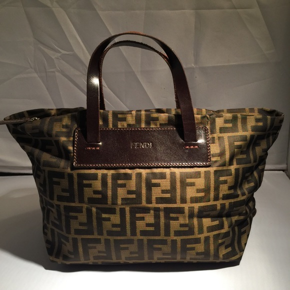 45dfdd553ae9 FENDI Handbags - Fendi zucca FF logo canvas small handbag
