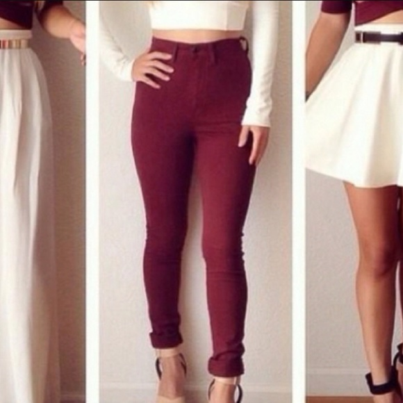 High waisted skinny colored jeans