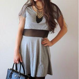 Dresses & Skirts - Gray short sleeve dress with mesh waist!