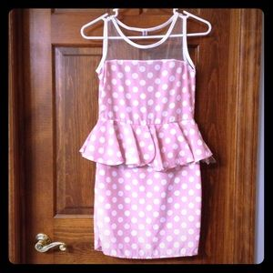 Polka Dot Pink Peplum Dress