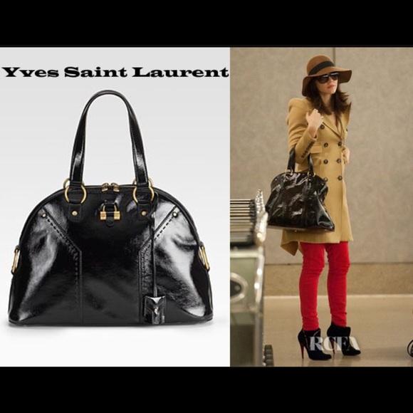 Yves Saint Laurent Black Patent Leather Muse Bag. M 55248075ea99a676d80001b4 b7ad56160532e