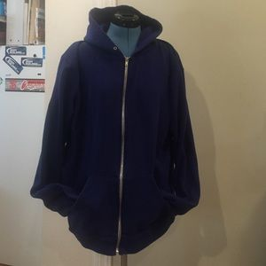 Blue mens American apparel zip up hoodie