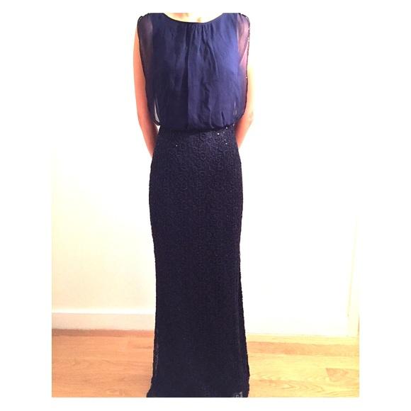 Aidan Mattox Dresses   New Navy Blue Lace Gown   Poshmark